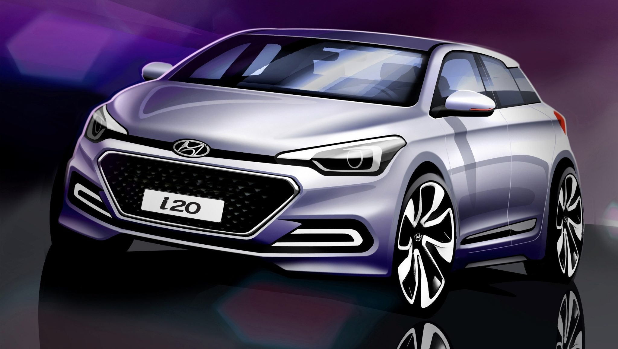 all new hyundai i20 sketches hint at design the news wheel. Black Bedroom Furniture Sets. Home Design Ideas