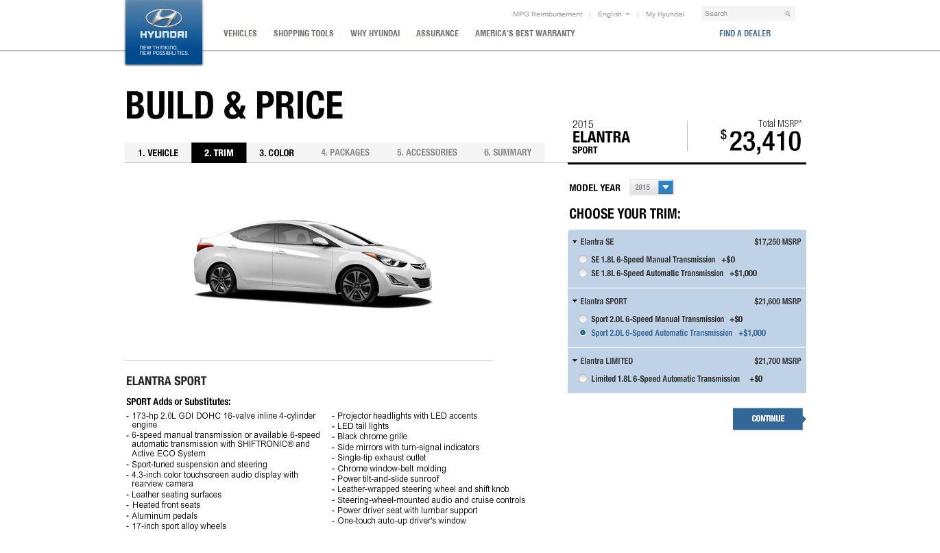 2015 Hyundai Elantra Configurator Sport Trim