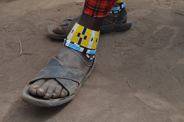 Kenya Rubber Tire Shoe Sandal made of recycled tires.