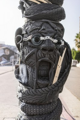 Tires Sculpture Art Face made of recycled tires.