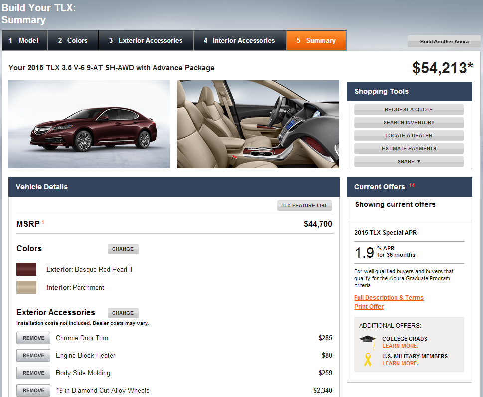 2015 Acura Tlx Configurator Configurate To Your Heart S