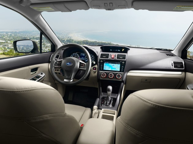 The upgraded interior of the 2015 Subaru Impreza