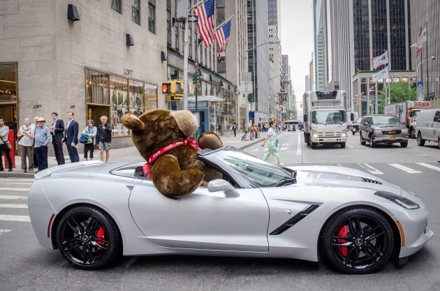 Chevy cancer survivors celebrate National Teddy Bear Day by deliver 48 small teddy bears and one very large one to cancer patients in Manhattan.