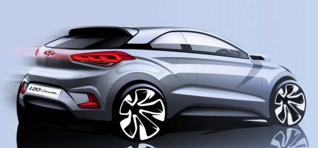 Hyundai i20 coupe silver sketch 3 door