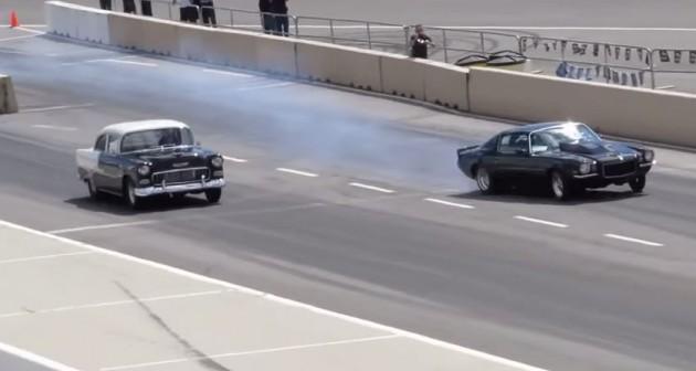 Intense 1955 Chevy Drag Racing Crash Caught On Camera