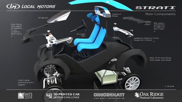 Local Motors Strati is first 3d Printed car concept design 3