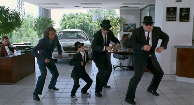 The Blues Brothers, just casually busting some moves at a Mercedes-Benz dealership