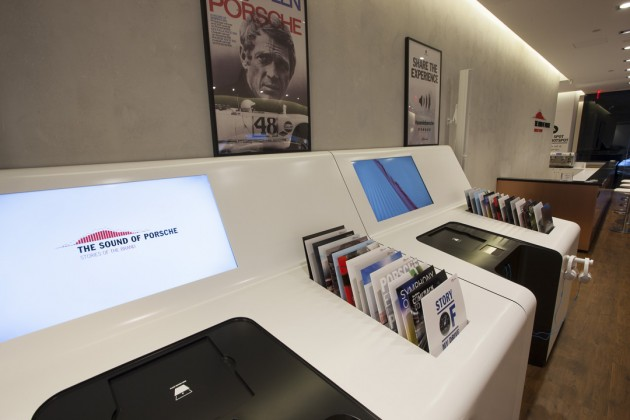 The Media Center feature what look like albums but are actually featured videos about the Porsche brand
