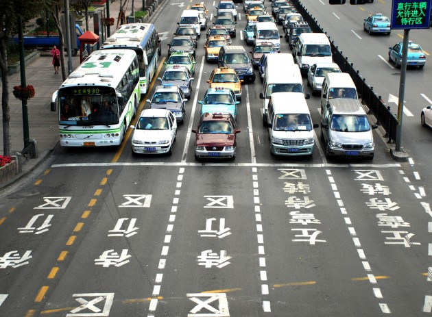 BMW Self-Driving Car in China Intersection Traffic