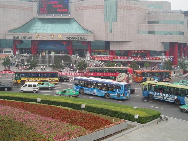 BMW Self-Driving Car in China Mall traffic