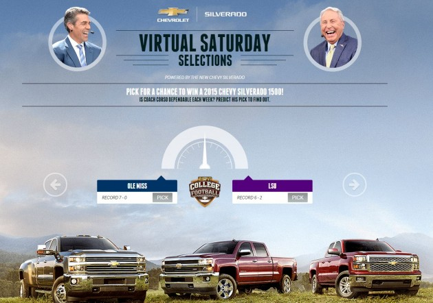 Win a Silverado and a trip to the 2015 National Championship Game in Texas by entering ESPN's Chevy Virtual Saturday Selections Sweepstakes.