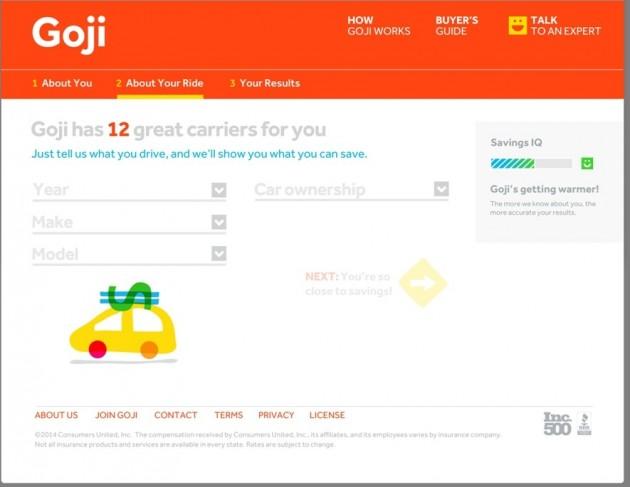 Goji Website Screen shot helps save on car insurance