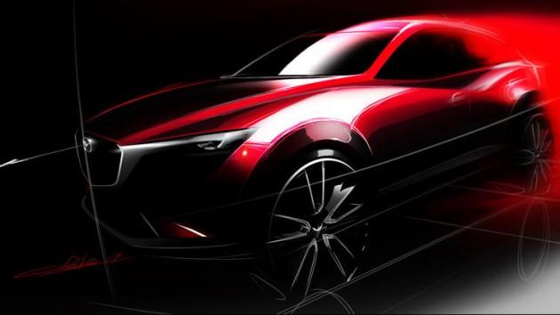 Mazda CX-3 Design Sketch crossover-la-auto-show-sketch-red-black