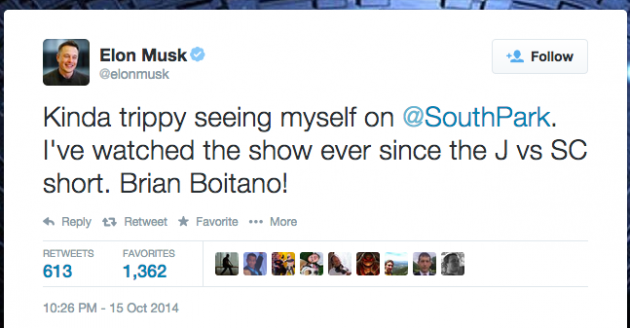 Elon Musk, proving his fanboy credentials by referencing the original 1995 Spirit of Christmas short film that preceded South Park's debut