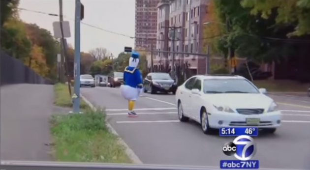 Cop dressed as Donald Duck
