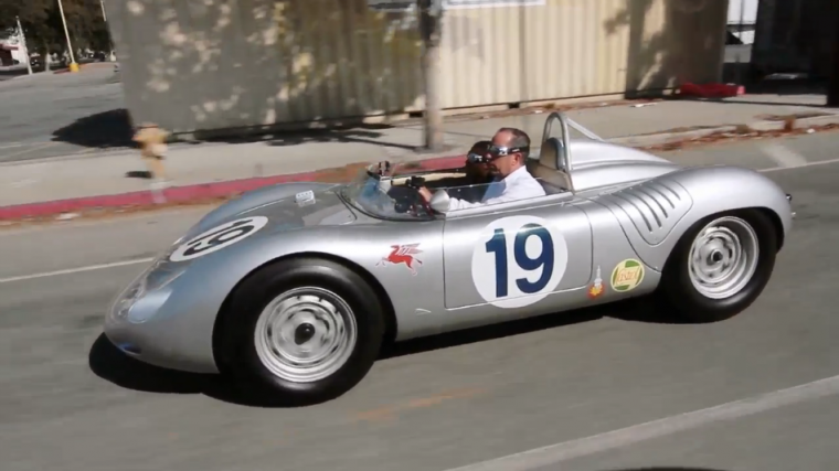Jerry Seinfeld and Kevin Hart driving around in a classic Porsche 718