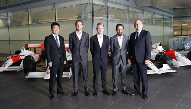 2015 Formula 1 Season McLaren-Honda drivers announced: (Left to right) Yasuhisa Arai, Jenson Button, Kevin Magnussen, Fernando Alonso, Ron Dennis.
