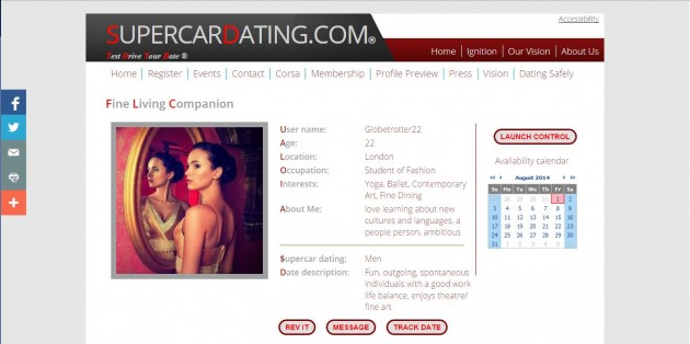 Supercar Dating Website Female profile