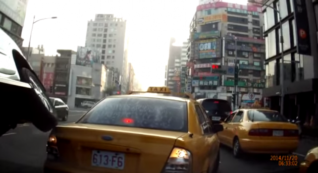Mitsubishi Crashes Into Cab