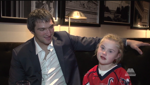 """All-Star Alex Ovechkin and his """"date,"""" Ann Schaab, who plays for the Washington Ice Dogs, a special needs hockey team in DC"""