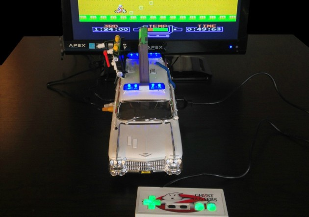 The $500 Ghostbusters Ecto-1 NES console in action