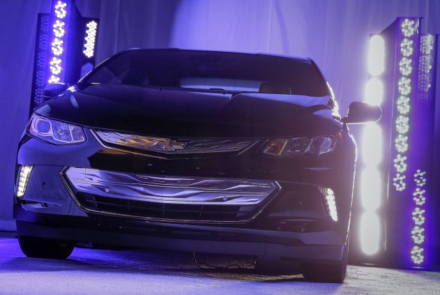 The 2016 Chevy Volt on display at the Consumer Electronics Show in Las Vegas