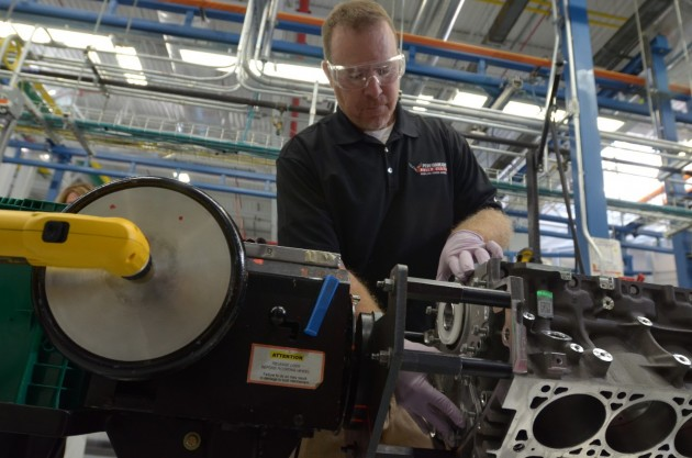 Assembly technician Steve Stinson builds a Z06 engine at the Performance Build Center in the Bowling Green Assembly Plant