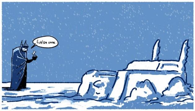 Batman Batmobile covered in snow