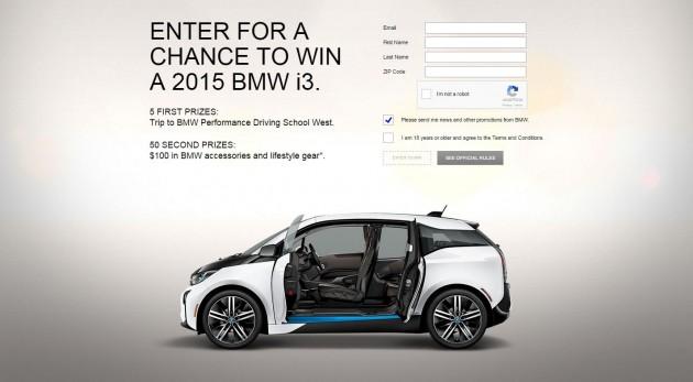 BMW i secret sweepstakes i3 electric