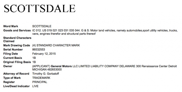 The Scottsdale name trademark application Photo credit: GM Authority