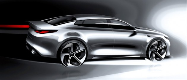 A teaser sketch of the 2016 Optima, in advance of the redesigned sedan's April 1st debut