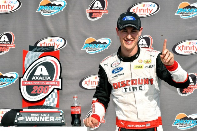 Joey Logano after winning the Axalta Faster. Tougher. Brighter. 200 NASCAR XFINITY Series race at Phoenix