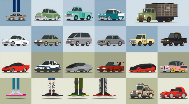 Back to the Future 88 cars poster
