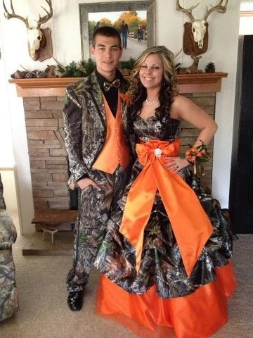 Camouflage tuxedo and prom dress