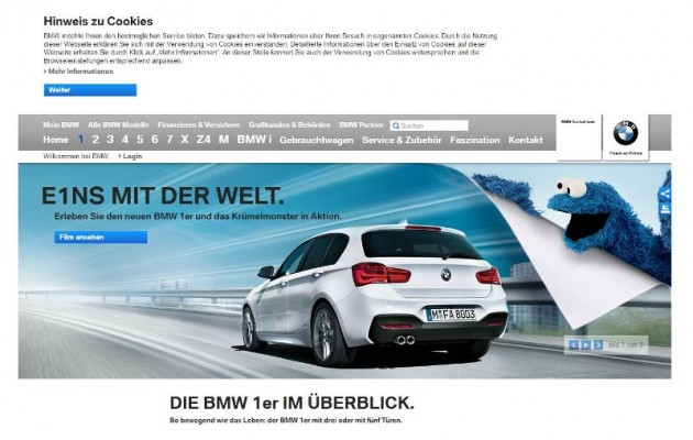 Cookie Monster on BMW Website