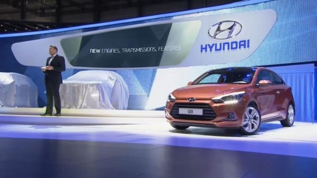 Hyundai i20 coupe on display at the 2015 Geneva Motor Show