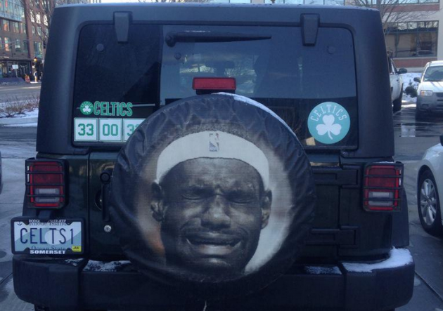 A Boston Celtics superfan's has a Jeep Wrangler tire cover that shows LeBron James crying