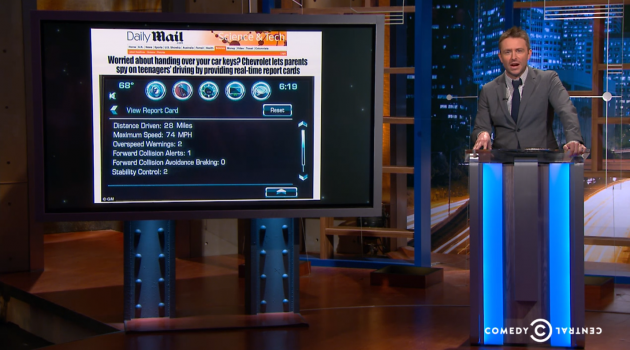 @midnight host Chris Hardwick skewers the Chevy Malibus Teen Driver System