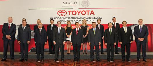 Toyota and Mexican officials attend a ceremony announcing that Toyota will invest $1 billion to construct its newest North American manufacturing facility in the state of Guanajuato in Central Mexico to produce the Corolla, April 15, 2015.