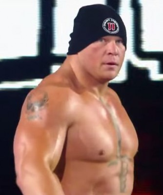 Lesnar, seen here sporting a Jimmy John's hat, has been on a violent rampage since being removed from the SAP Center Monday night