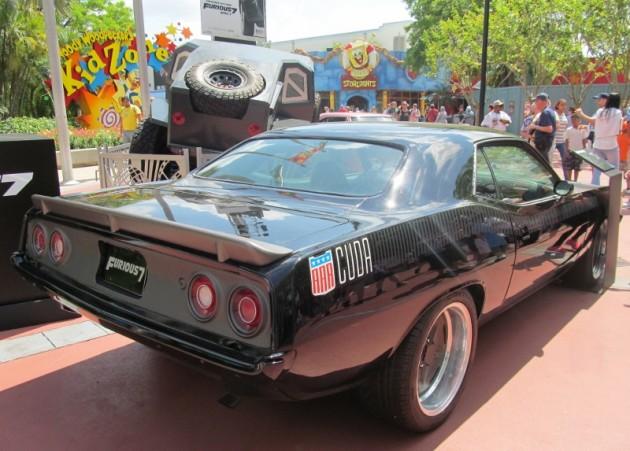 Letty 1973 Plymouth Barracuda Cuda black Fast and Furious 7 movie film car rear