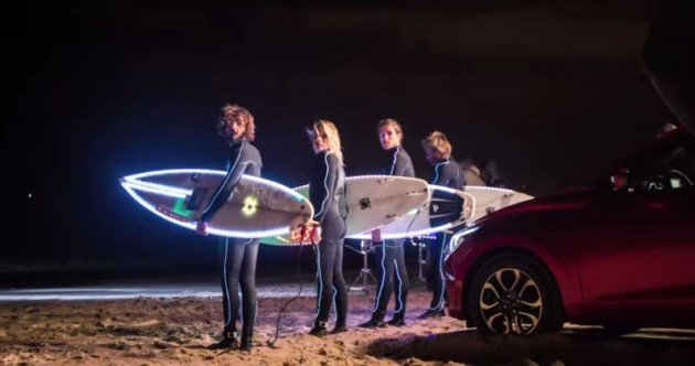 Mazda2's Adaptive LED Headlights night surf on beach Portugal commercial