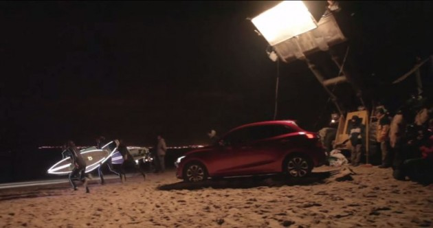 Mazda2's Adaptive LED Headlights night surf on beach Portugal commercial production