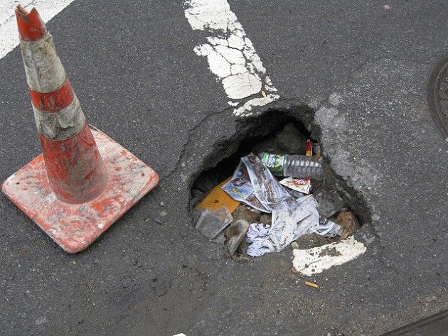 NYC Pothole or Garbage Can?
