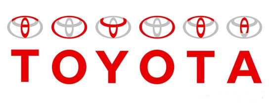 Toyota name in current logo hidden