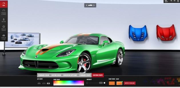 Online Viper GTC Customizer | orange stripe | best exterior colors offered by Dodge