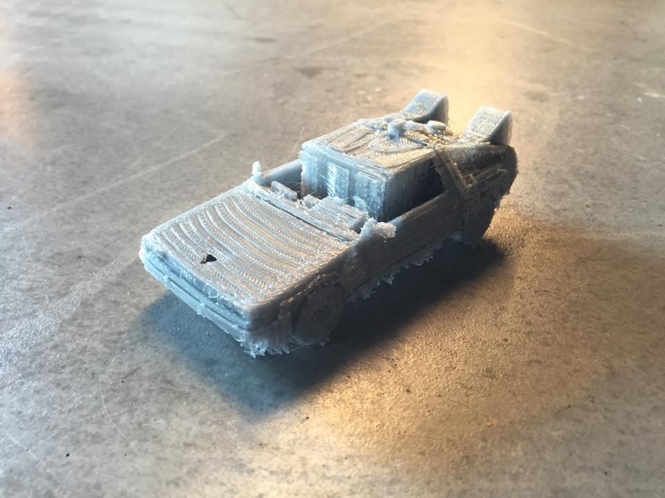A 3D printed DeLorean DMC-12 model that was raffled off on Saturday