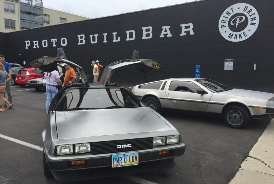 Paul Menkhaus' DeLorean DMC-12 parked outside of Dayton, Ohio's Proto BuildBar