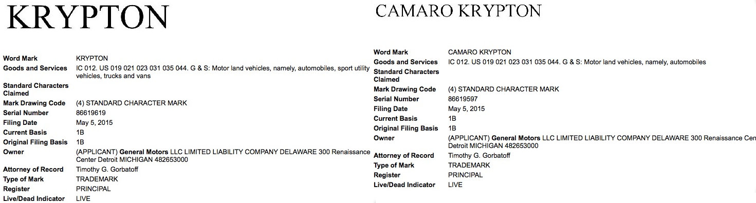 Krypton Camaro Krypton trademark registrations