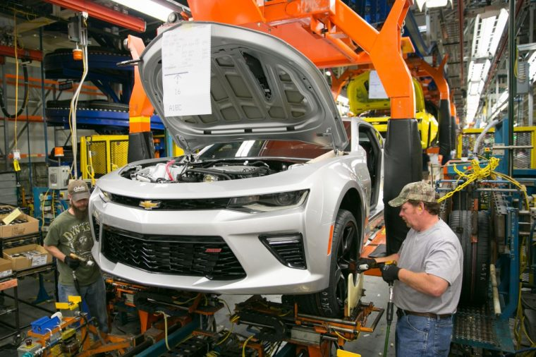 Chevy Camaro on assembly line